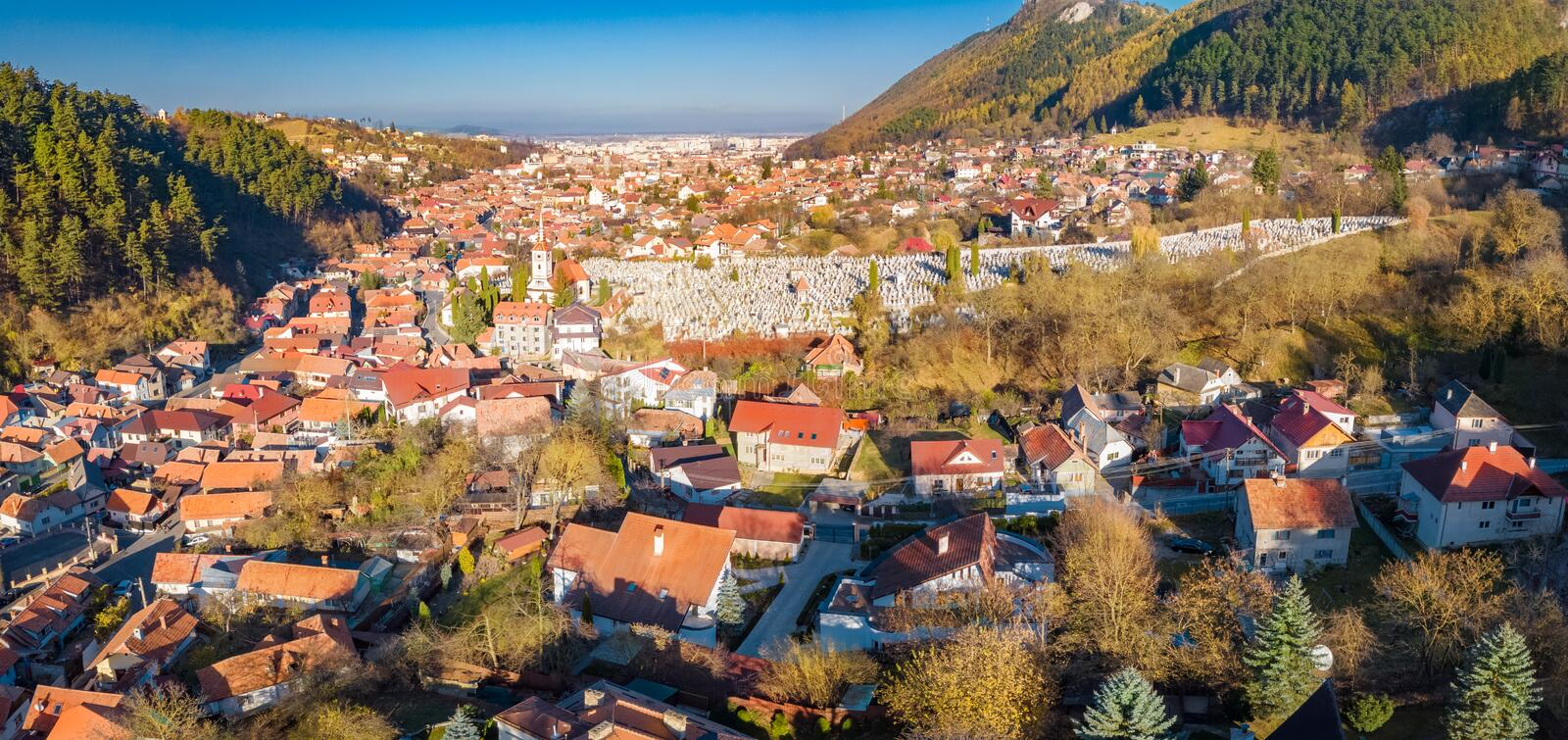 Aerial view of Brasov city stock photography