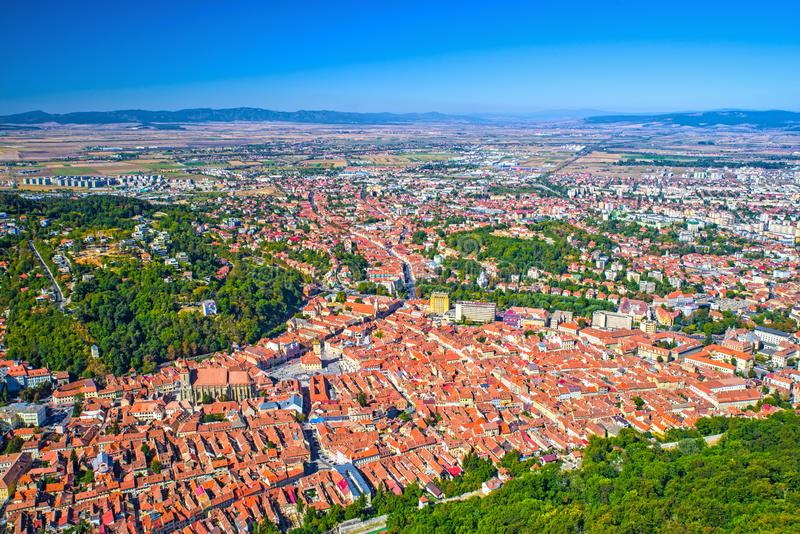 Aerial view of Brasov city royalty free stock photos