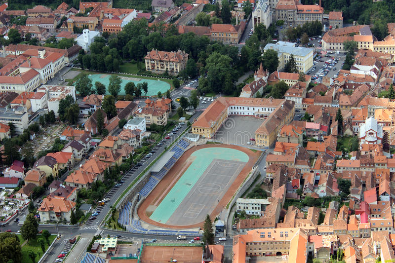 Aerial view of Brasov city royalty free stock image