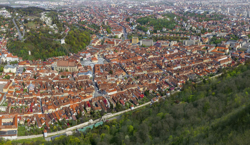 Aerial view of the Brasov, Romania stock photography
