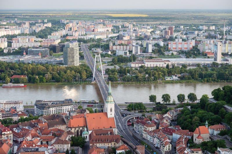 Aerial view of Bratislava city center, Slovakia royalty free stock photos