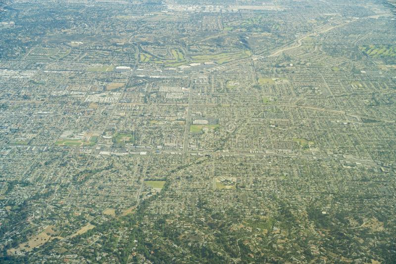 Aerial view of the Brea, Fullerton. Aera, Orange County, California royalty free stock photography