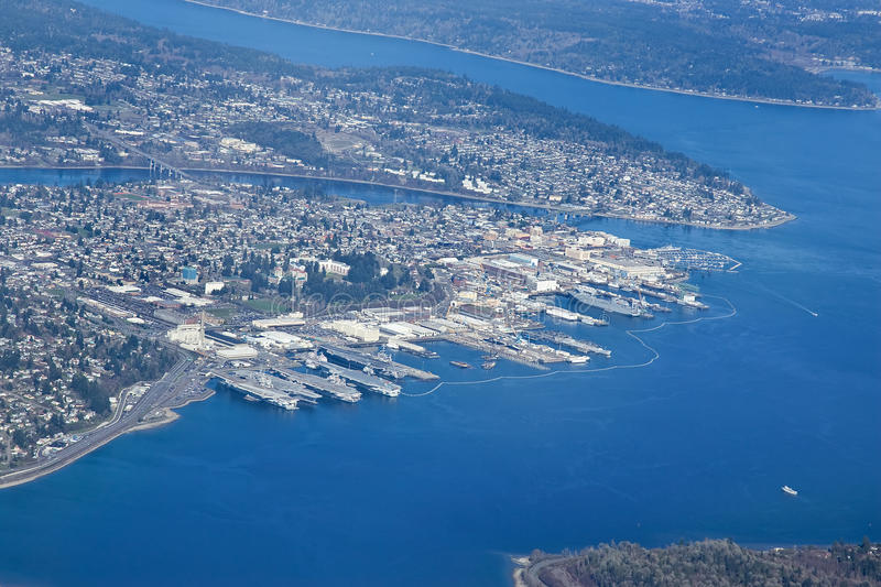 Aerial view of Bremerton City Washington royalty free stock image