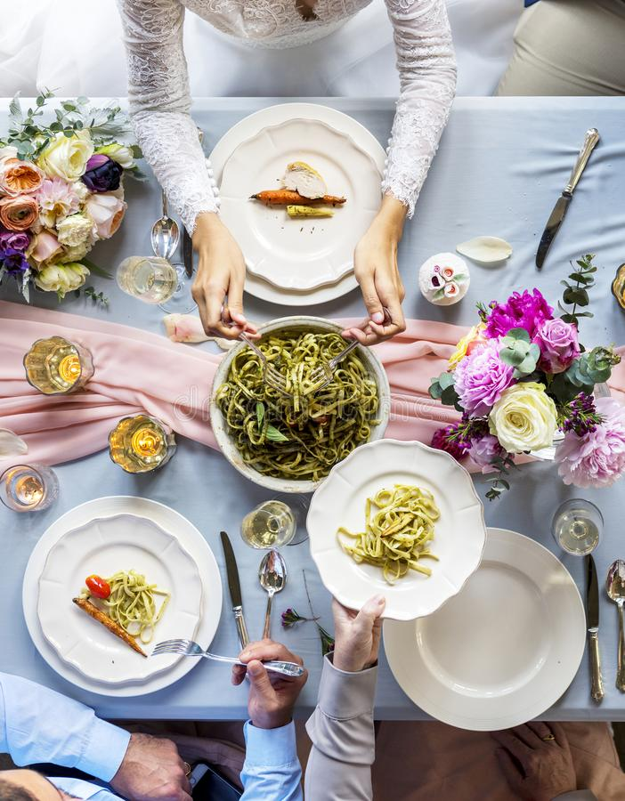 Aerial view of a bridal party dining table stock photography