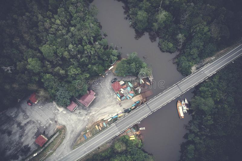 Aerial View of the Bridge stock photography