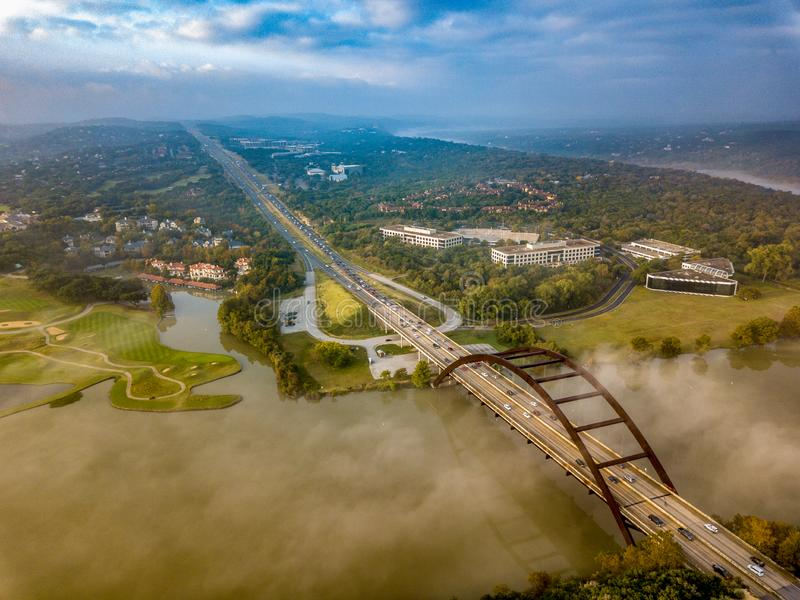 An Aerial vista. An aerial view of a bridge in the Capital of Texas highway stock image