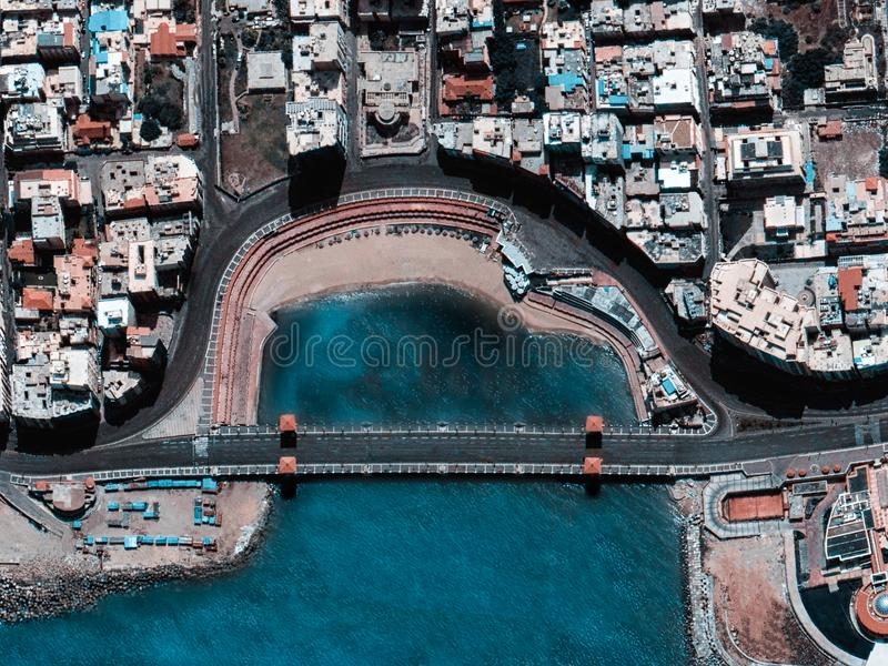 Aerial View of Bridge and City royalty free stock photos
