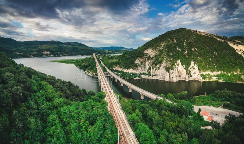 Aerial view of a bridge crossing the turquoise water of Tsonevo stock image