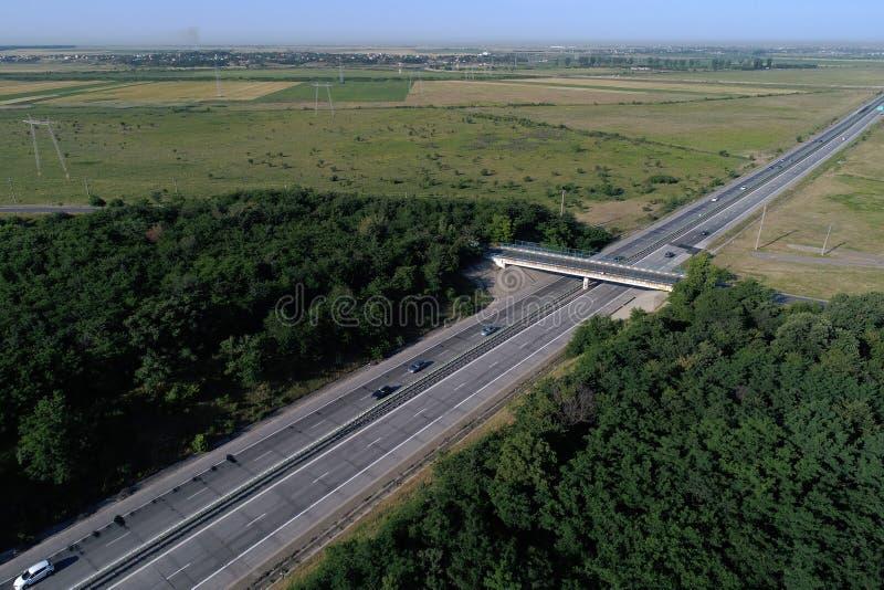 Motorway seen from above, bridge stock photography