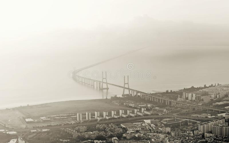 Aerial view of the bridge. stock image