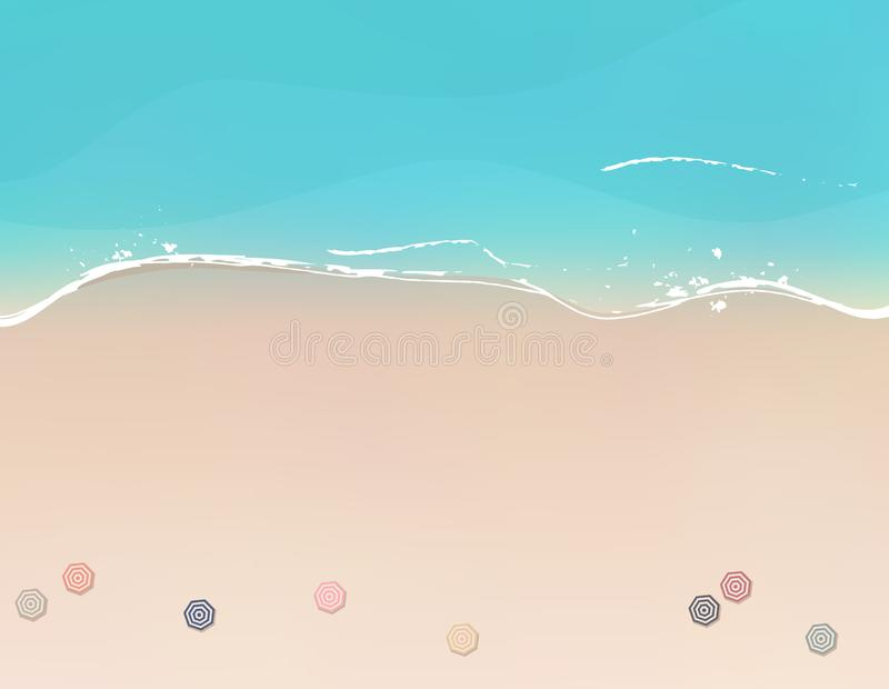 Aerial view of sea beach with beach umbrellas. Aerial view of bright sea beach with beach umbrellas royalty free illustration