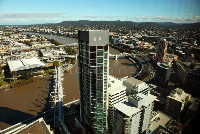 Aerial view Brisbane City and Kurilpa footbridge royalty free stock photography