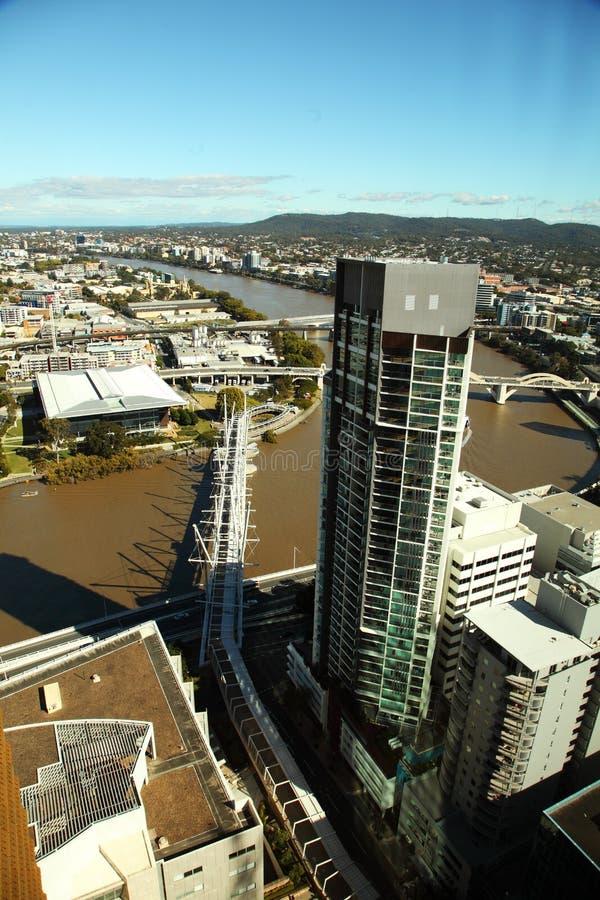 Aerial view of Brisbane City Kurilpa footbridge royalty free stock image