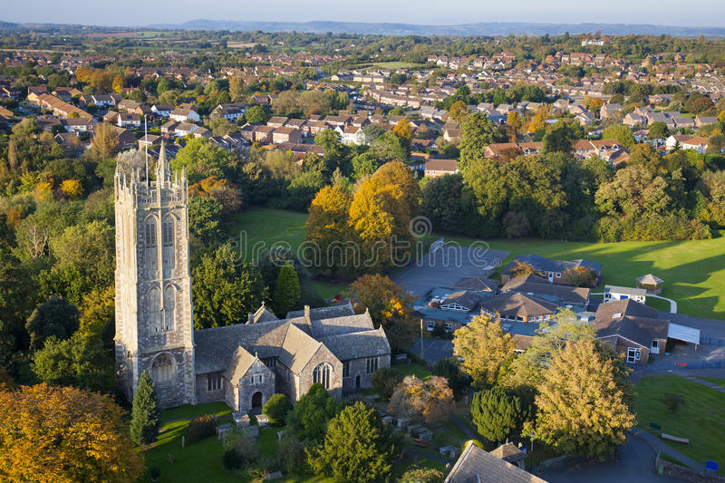 Download Aerial View Of A British Village With Church And School Stock Image - Image: 29159927
