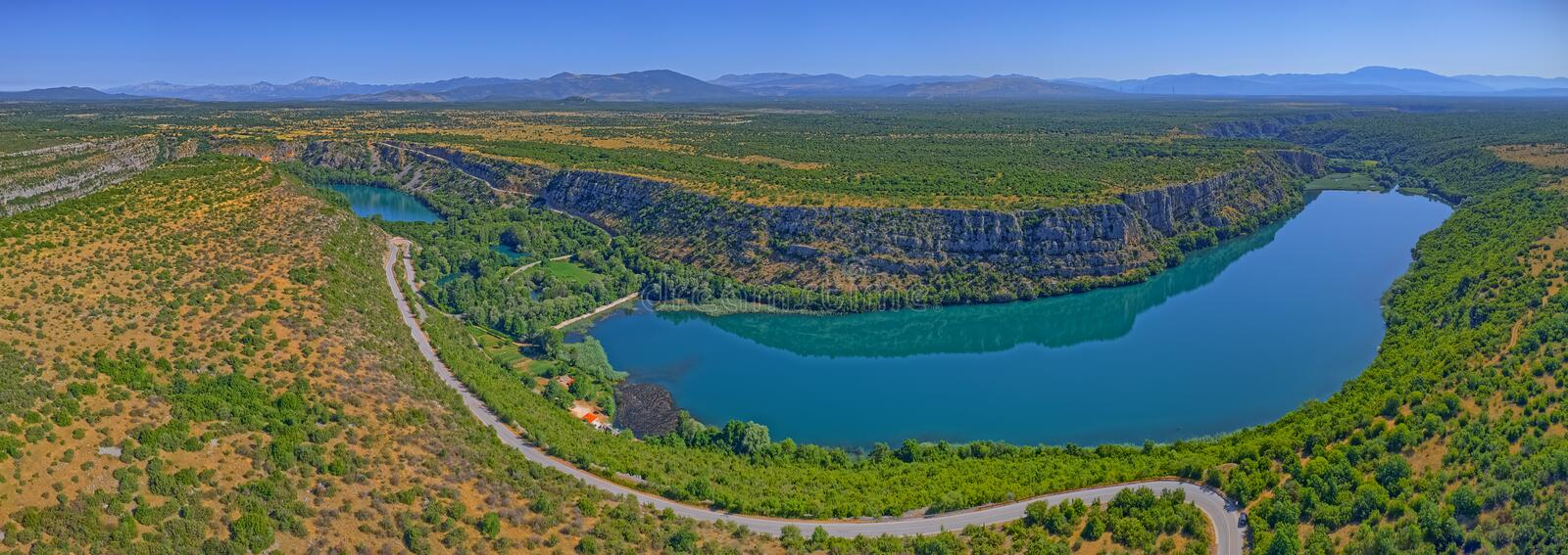 Aerial view of Brljan lake in Croatia in canyon of the Krka River stock image