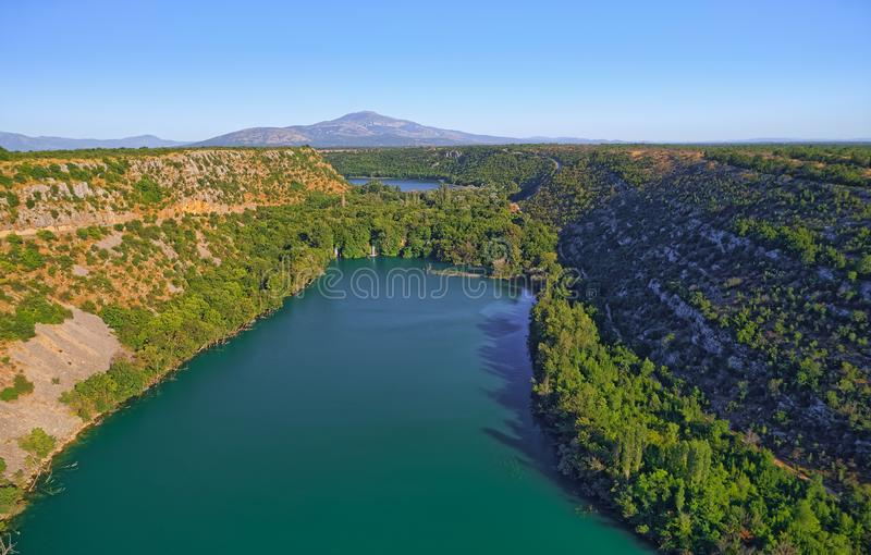 Aerial view of Brljan lake in Croatia in canyon of the Krka River royalty free stock photos