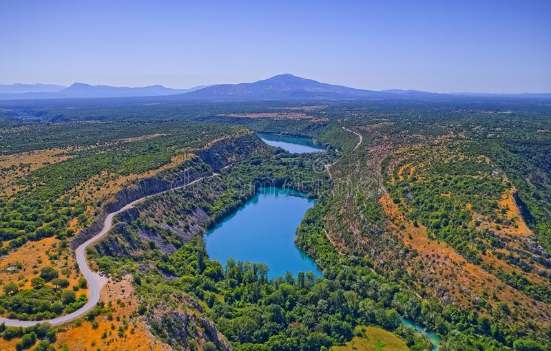 Aerial view of Brljan lake in Croatia in canyon of the Krka River stock images