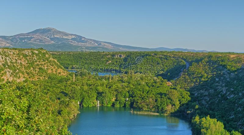 Aerial view of Brljan lake in Croatia in canyon of the Krka River royalty free stock photography
