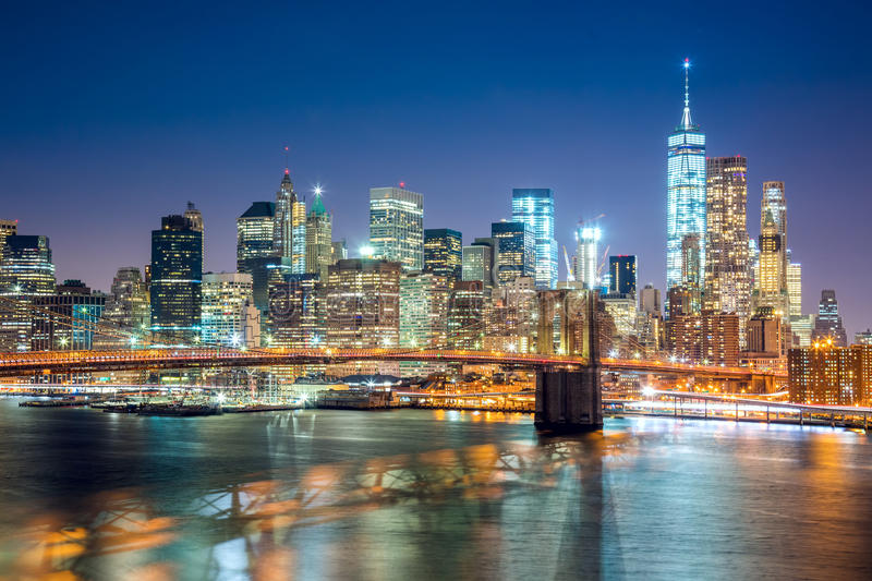 Aerial view of Brooklyn Bridge and Manhattan skyline, NYC stock images