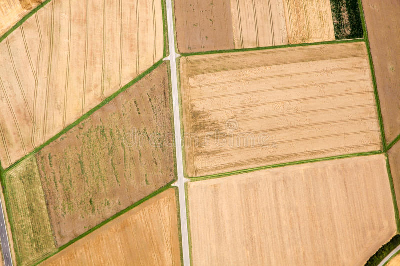 Aerial view of brown fields royalty free stock image