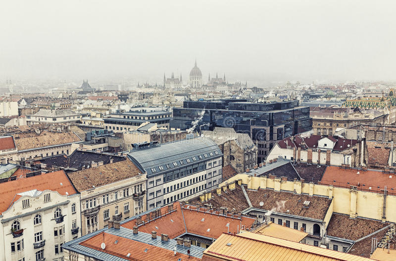 Aerial View On Budapest At Winter royalty free stock photos