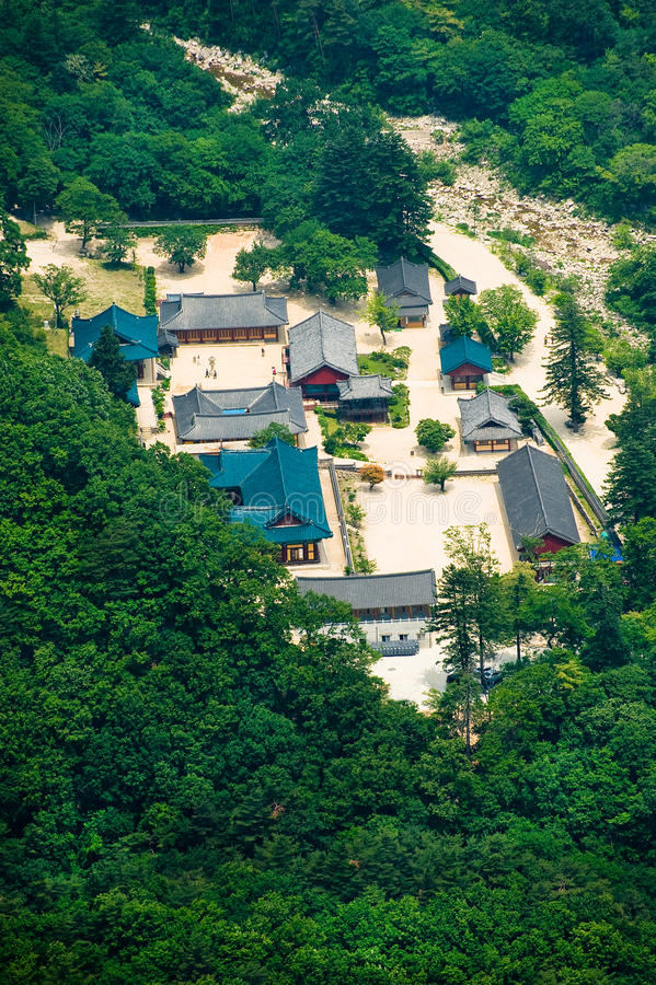 Aerial view of the Buddhist Sinheungsa Temple stock photo