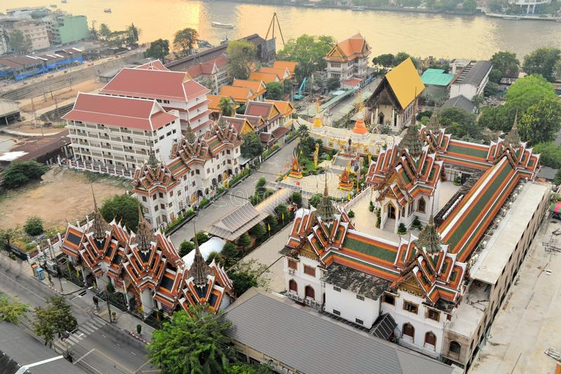 Aerial view of Buddhist Temple, Bangkok, Thailand royalty free stock images