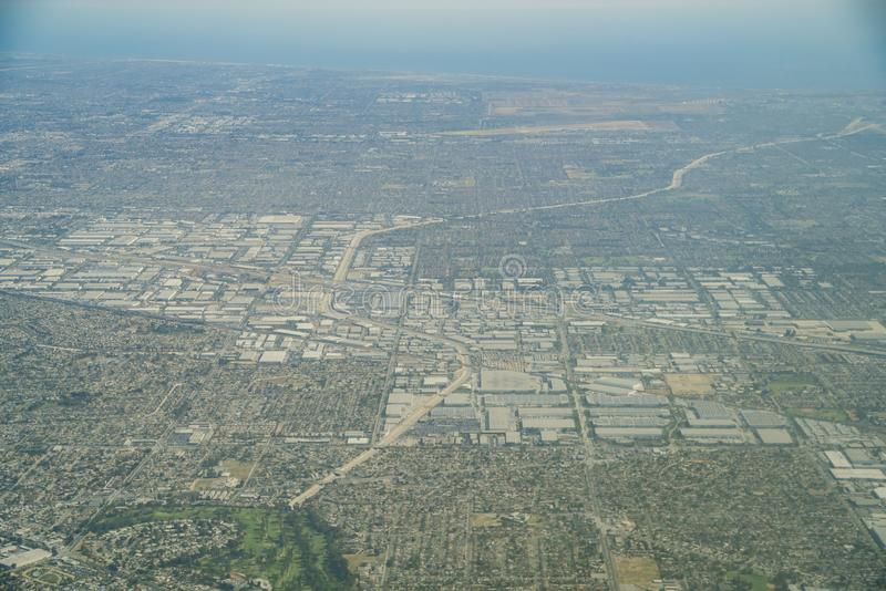 Aerial view of the Buena Park, Cerritos. Area at Los Angeles County, California stock photo