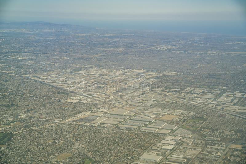 Aerial view of the Buena Park, Cerritos. Area at Los Angeles County, California stock image