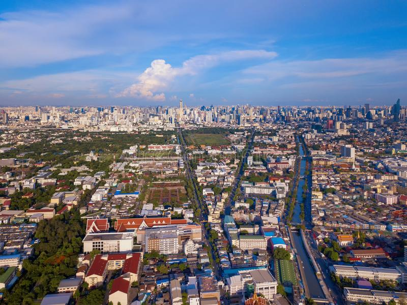 Aerial view of buildings with Chao Phraya River in transportation concept. Bangkok skyline background, Urban city in downtown area. At sunset, Thailand stock images