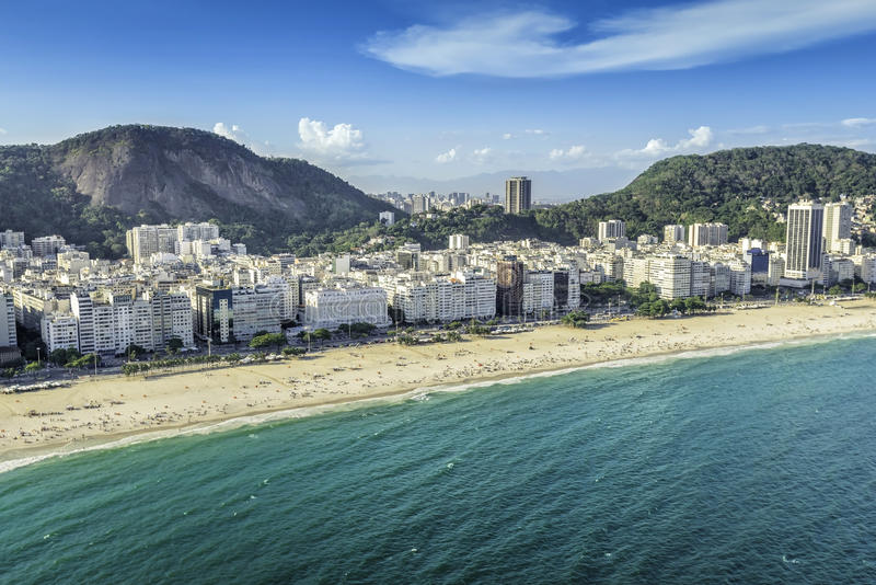 Aerial view of buildings on the Copacabana Beach in Rio de Janeiro royalty free stock photography