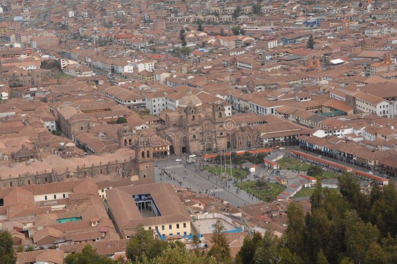 Aerial view of Cusco, Peru. Aerial view of buildings in downtown Cusco, Peru stock photos