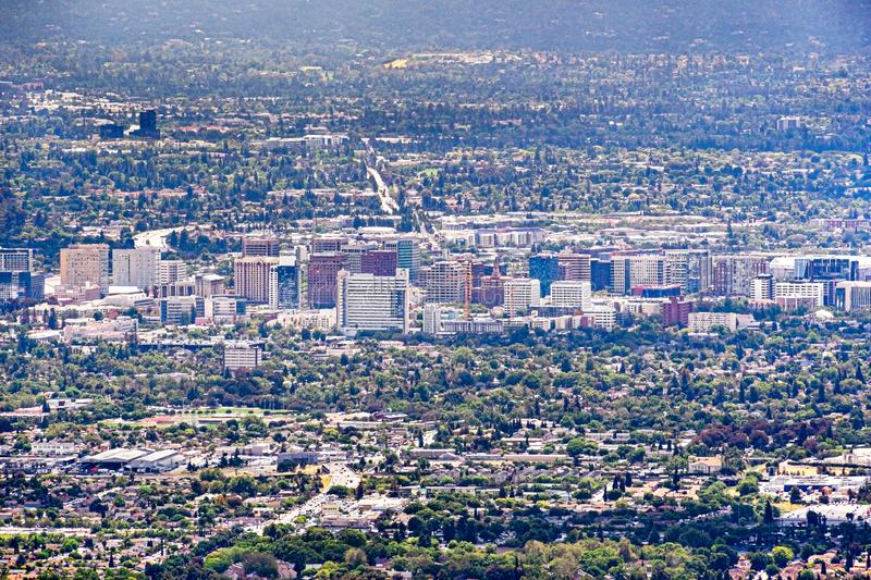 Aerial view of the buildings in downtown San Jose; Silicon Valley, California stock photography