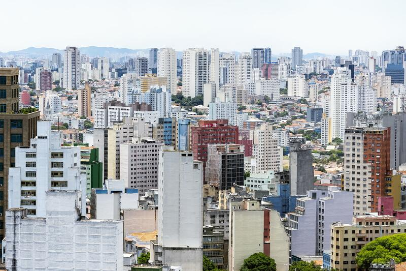 Sé, São Paulo SP Brazil. Aerial view of the buildings of Se Neighborhood at Sao Paulo SP Brazil during the day royalty free stock photos