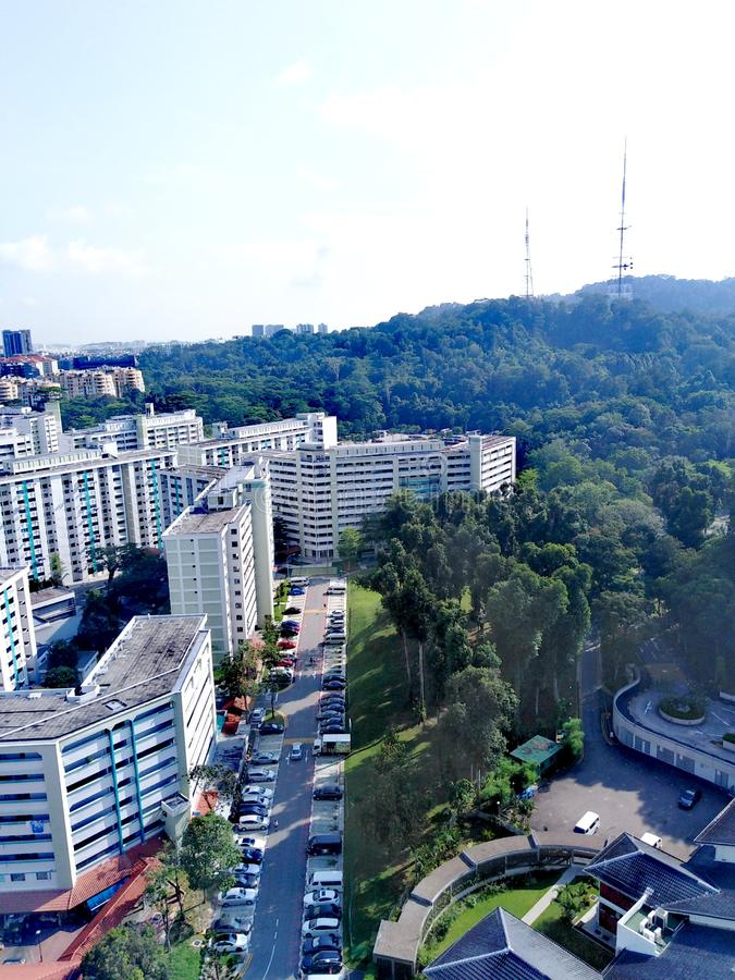 Aerial view of Bukit Batok East in Singapore. Aerial view of bukit batok nature park in singapore. aerial view of bukit batok nature park. from above st mary of stock photo