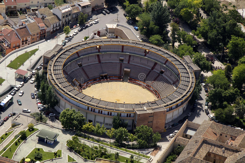 Aerial view of the bullring of Jaen. Andalusia, Spain stock photos