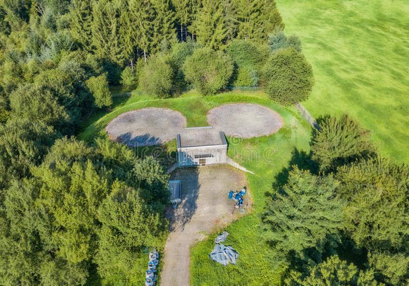Aerial view of a bunker with helipad in Marienheide royalty free stock photo