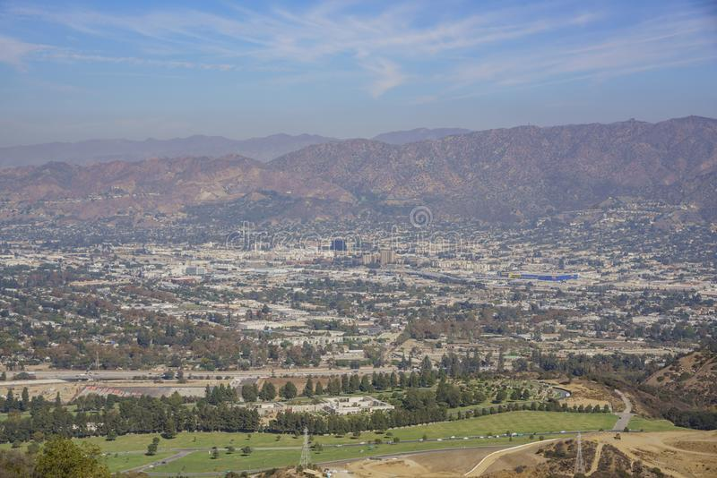 Aerial view of Burbank cityscape. From Hollywood sign trail, California, United States stock photos