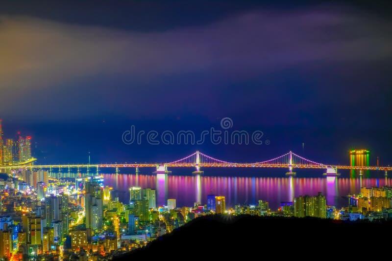 Aerial view of Busan city with Gwangan bridge at nighttime, Sout royalty free stock photo
