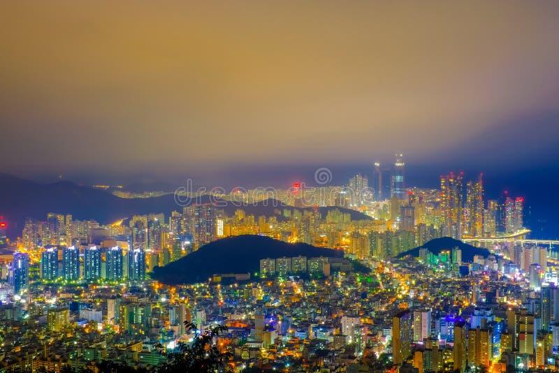 Aerial view of Busan city with Gwangan bridge at nighttime, Sout royalty free stock photos