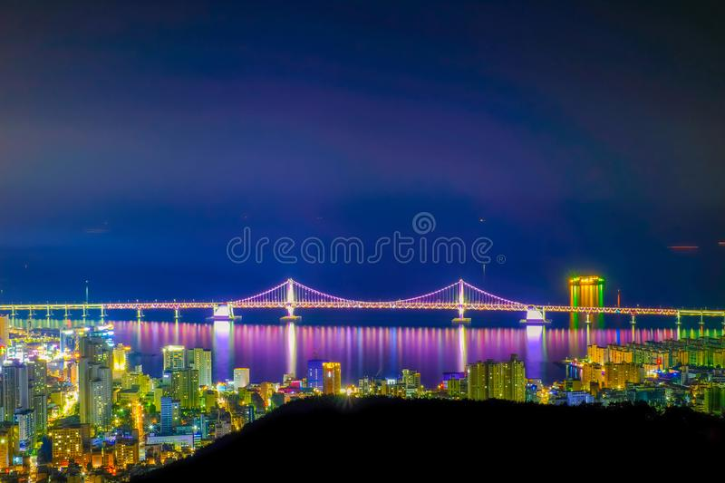 Aerial view of Busan city with Gwangan bridge at nighttime, Sout royalty free stock images