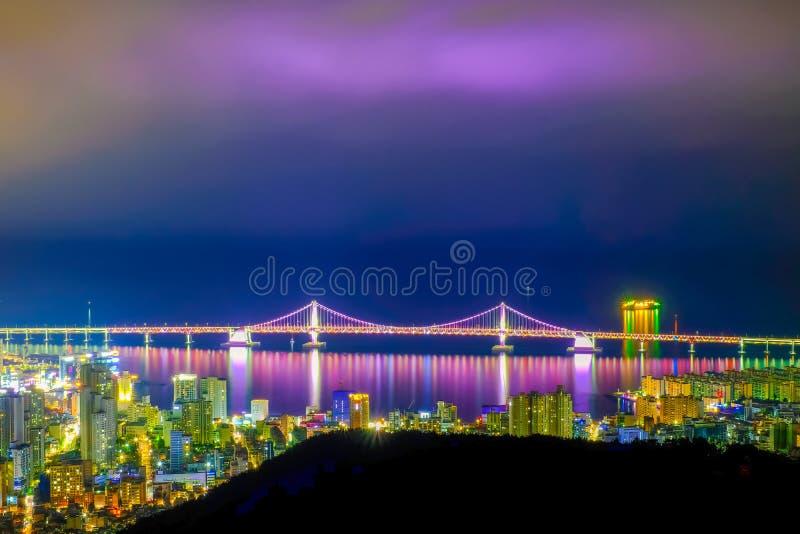 Aerial view of Busan city with Gwangan bridge at nighttime, Sout stock images