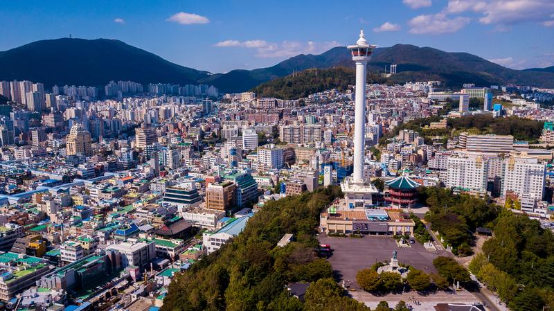 Aerial view of Busan city, South Korea. Aerial view from drone. stock images
