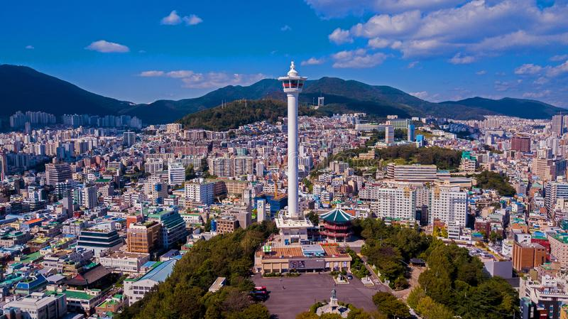 Aerial view of Busan city, South Korea. Aerial view from drone. stock photo