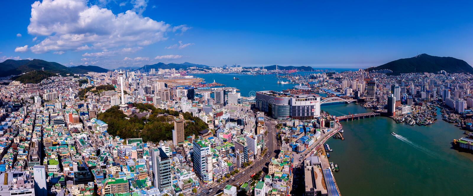 Aerial view of Busan city, South Korea. Aerial view from drone. stock photos