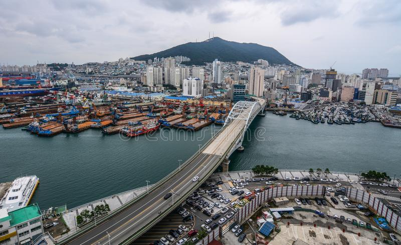 Aerial view of Busan, South Korea stock image