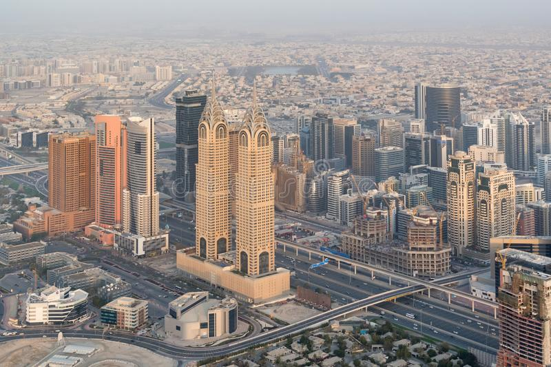 Aerial view of Business Central Towers or the Al Kazim Towers, Dubai, UAE stock photo