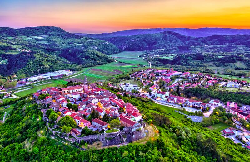 Aerial view of Buzet town in Istria, Croatia. Aerial view of Buzet town at sunset - Istria, Croatia stock photos