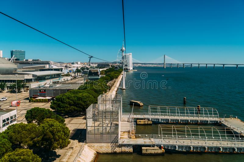 Aerial View From Cable Car Ride Of Parque das Nacoes Park of Nations in Lisbon stock image