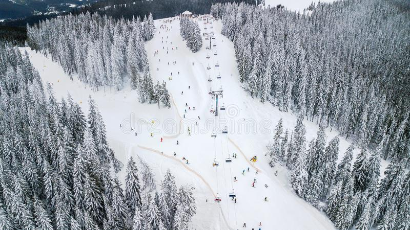 Aerial view of the cable car in the ski resort stock photo